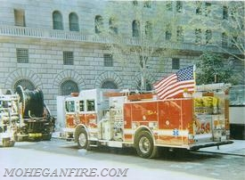 Engine 258 Parked In Front Of The Federal Reserve While Crew Assists at Ground Zero