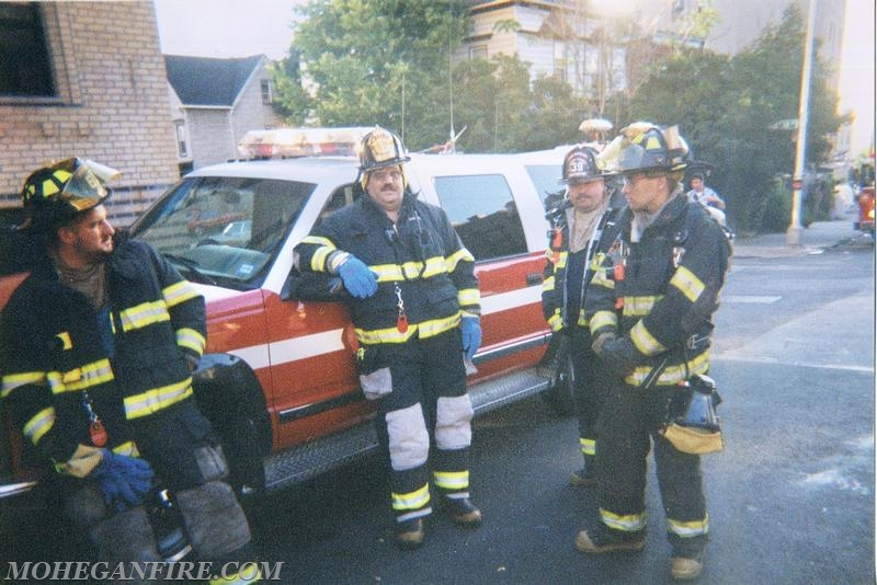 Mohegan Firefighters FF Velders, DC Brown, FF Clark, and then FF Gravius Picking Up From Mohegan Ave Fire On 9/13/01