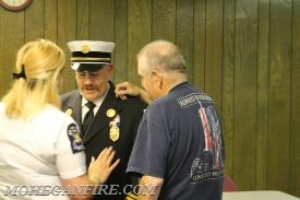 Chief Keesler's Badge Being Pinned By Brianna Keesler (Mohegan VAC Capt), along with Verplanck Past Chief Lenny Keesler (father)